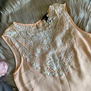 FOREVER21 Crochet lace and chiffon peach top